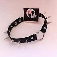 Genuine Leather XL Spiked Heart Choker Necklace - 24mm silver or gold spikes