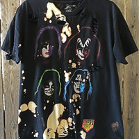 KISS size large shirt soft grunge distressed, bleached, rock concert T shirt bleached