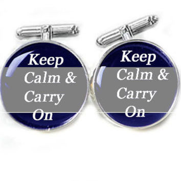 Men Cufflinks Keep Calm & Carry On personalized gift for him guys men father wedding photo cuff links Birthday