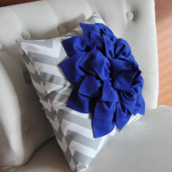 Royal Blue Dahlia on Gray and White Zigzag Pillow -Chevron Pillow-