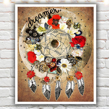Dreamer - giclee print, dream catcher print, bohemian decor, mixed media collage art, dreamcatcher art, boho chic decor, magical moon