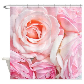 Pink roses Fabric Shower Curtain, white, cream,bathroom,home decor,pastel flowers,nature,floral shower curtain