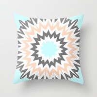 Baby Blue to Peach Throw Pillow by Abstracts by Josrick