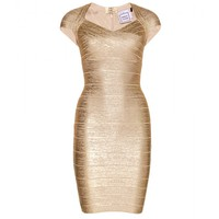 hervé léger - tejana coated metallic bandage dress