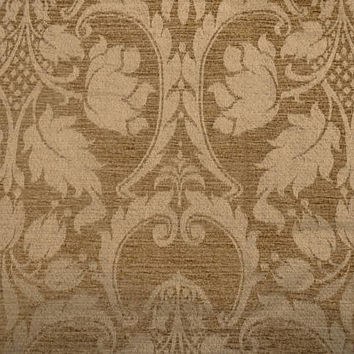 2.5 Yard Cut of Gold Chenille Damask Upholstery Fabric, 54 In. Wide, Heavy Home Decorating Fabric, Pillows, Drapes, Ottoman, Large Print