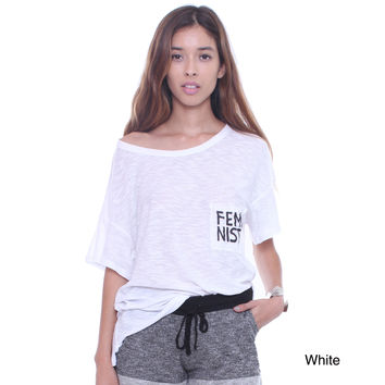 """Michelle Junior's CT22607 Oversized Tee With """"Feminist"""" Print On Pocket"""