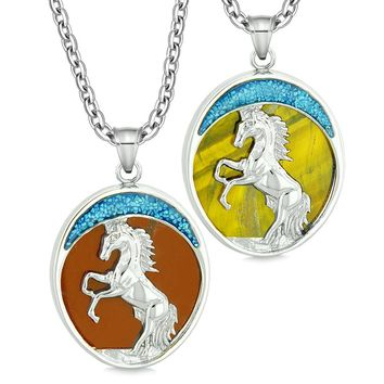 Courage Horse Wild Moon Mustang Love Couples or Best Friends Red Jasper Tiger Eye Necklaces