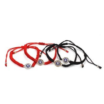 new arrival red black string rope circle blue evil eye charm handmade cheap bracelet for women as gift