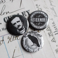 Edgar Poe pinback buttons - set of 3 - Nevermore, The Raven - version I