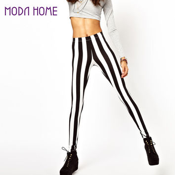 Sexy Women Leggings Black White Vertical Stripe Zebra Ladies Leggings SM6