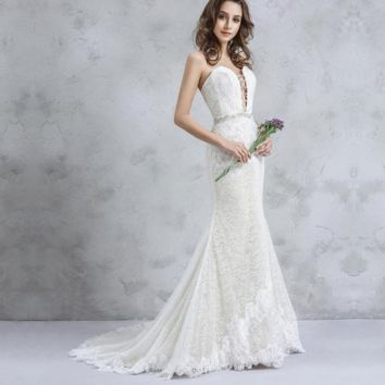 Front Strap Sweetheart Wedding Dress A line Lace Appliqued Jewel Beaded Belt Bridal Gown
