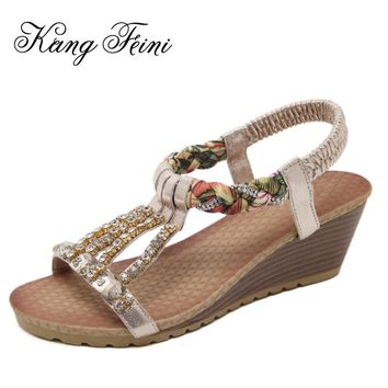 New Bohemia Gladiator Summer Girls Sandals Women Wedges High Heels Rhinestones Ladies Sandals Beach
