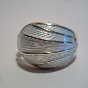 David Andersen Vintage White Enamel Shell Ring Size 6.5 Norway Sterling 925 Dome Jewelry