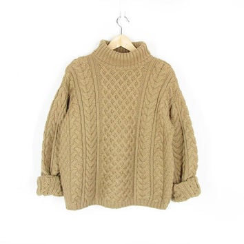 Vintage Wool Sweater, Beige Cable Knit Turtleneck, Chunky Fisherman Sweater, Soft Merino Wool, Made in Ireland -- Womens M / L