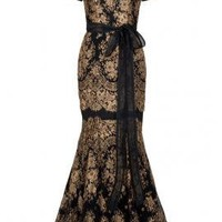 Gold Lace Gown - Dresses - Clothing - Womens