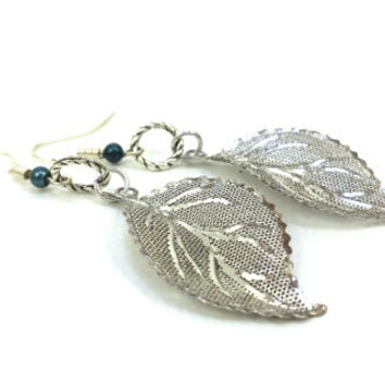 Silver Leaf Earrings, Leaf earrings, Long Silver Earrings, Fairy Earrings, Christmas Gift, Gift for her, Gift Idea , DreamingAlice