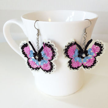 Multicolor Butterfly Crochet and Beaded Earrings, pair of Butterfly earrings and beaded.
