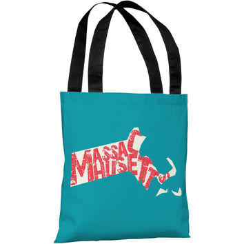 """Massachusetts State Type"" 18""x18"" Tote Bag by OneBellaCasa"