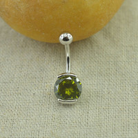 peridot belly ring,nature stone belly button ring,girlfriend belly piercing