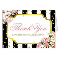 Thank You Pink Roses and Stripes Card