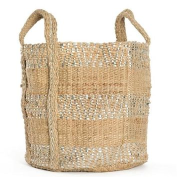 Two-Toned Jute Basket