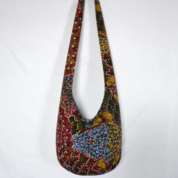Hobo Bag, Crossbody Bag, Hippie Purse, Sling Bag, Hobo Purse, Boho Bag, Bohemian Purse, Cross Body, Floral, Flowers, Aboriginal Designs