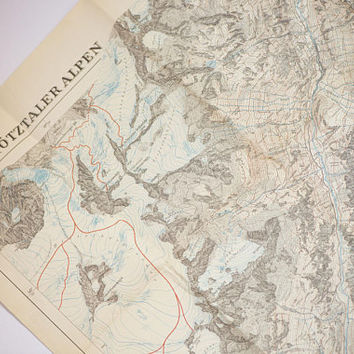 Mountain range Ötztal Alps Gurgl folded map vintage. Wall decor Alps Mountain chart mid century. Large tourist map in German gift traveler