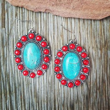 Natural Stone Red & Turquoise Oval Earrings