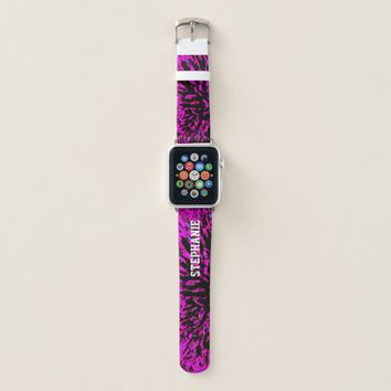 Hot Pink and Black Abstract Personalized with Name Apple Watch Band