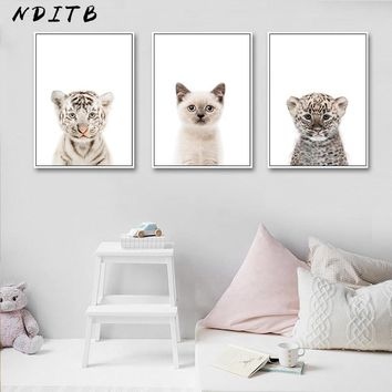 NDITB Baby Animal Cat Tiger Panda Wall Art Canvas Painting Nursery Nordic Posters and Prints Decorative Picture Kids Room Decor