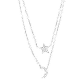 0.09ct 14k White Gold Diamond Pave Moon & Star Necklace