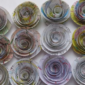 12 Road Map Roses 1.5 Inch Paper Flowers, Travel Theme Party Decorations, Best Selling Item