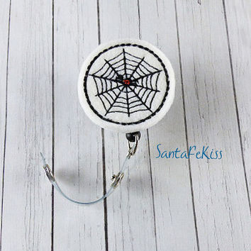 Halloween Spider Badge Holder with Retractable Badge Reel, Halloween badge reel, retractable badge holder, badge clip, badge pull