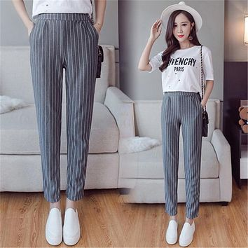 Vertical Striped Harem Pants Trousers New Spring Summer Loose Casual Elastic Waist Pants Ankle-Length Pants Drop