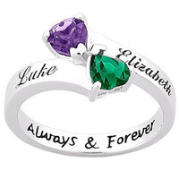 Walmart: Personalized Sterling Silver Couple's Two-Heart Ring