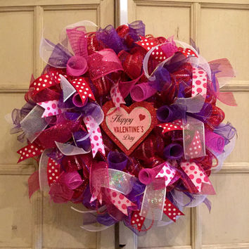 Valentines Day Wreath, Decomesh Valentines Day Wreath, Valentines Wreath, Valentine Party Decor, Pink and Red Wreath, Heart Wreath