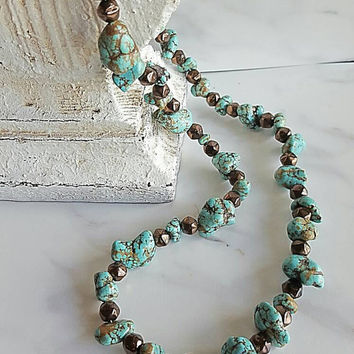 Turquoise necklace - green nugget necklace - southwest style necklace - green Turquoise and bronze accent beaded choker - rodeo jewelry