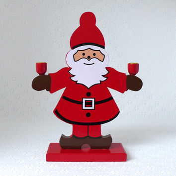 Santa Candle Holder, Wooden Santa Claus, Red White Candle Holder, Vintage Santa Claus, Figural Santa, Helsinki Finland, Christmas Decor