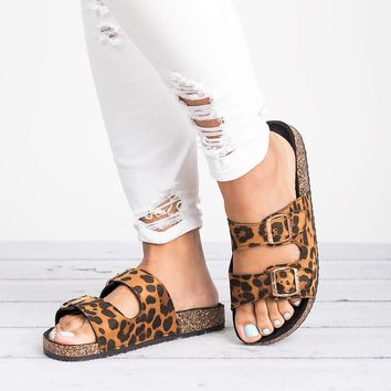 Double Buckle Sandals -Leopard
