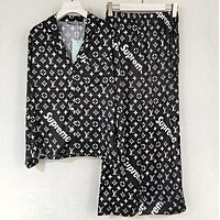 LV x Supreme Newest Stylish Women Men Casual Emulation Silk Long Sleeve V Collar Shirt Pants Two Piece Set Black