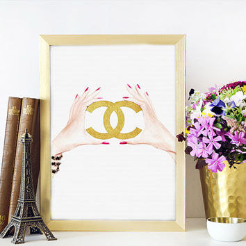 GOLD CHANEL SIGN,Chanel Logo,Chanel Digital Art Print,,Home Decor,Chic Poster,Chanel Logo Print,Wall Art,Fashion Decor,Fashionista Gold sign