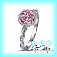 Peach Pink Moissanite Engagement Ring .75ct, 6mm Round Peach Pink Moissanite in a 14k White Gold Diamond Halo Setting and Matching Band