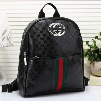GUCCI Women Fashion Leather Backpack Bookbag Daypack
