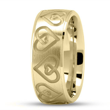 Wedding Band - Engraved Double Heart Wedding Ring in Yellow Gold
