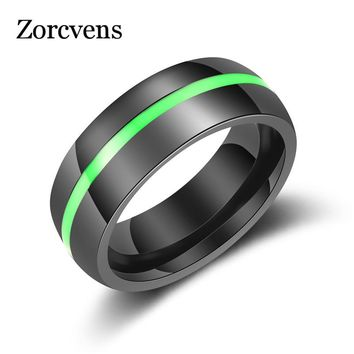 ZORCVENS New Fashion 7 Color Mens Firefighter Ring Stainless Steel Thin Blue Line Ring for Women Drop Shipping