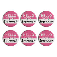 Susannah Hello My Name Is Plastic Resin Button Set of 6