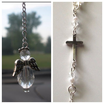 Cross Guardian Angel Car Charm, Free Shipping, Angel Sun Catcher