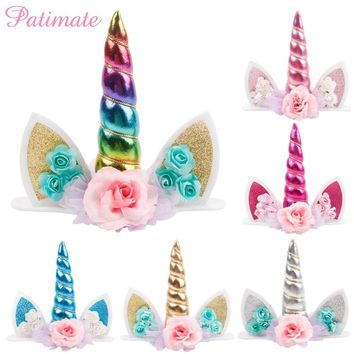 PATIMATE Unicorn Horns Cake Topper Kids Birthday Cake Decor Halloween Wedding Party Supply Gold Favourite Unicornio Decoration