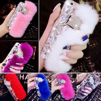 LaMaDiaa Luxury Bling Warm Soft Beaver Rabbit Fur Hair Phone Cases for iphone4 4S 5 5S 5C Protective Phone Back Housing Hot Sale