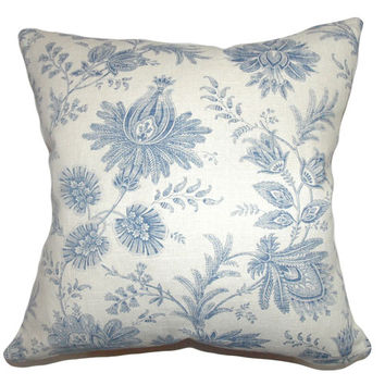 The Pillow Collection P18-42065-BLUE-C55L45 Camella Toile Pillow Blue